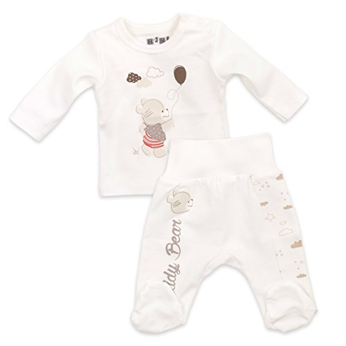 t Bio Baumwolle beige | Motiv: Teddy Bear | Marke: NINI | Babyset 2 Teile mit Bärenmotiv für Neugeborene & Kleinkinder | Größe: 6 Monate (68) ()