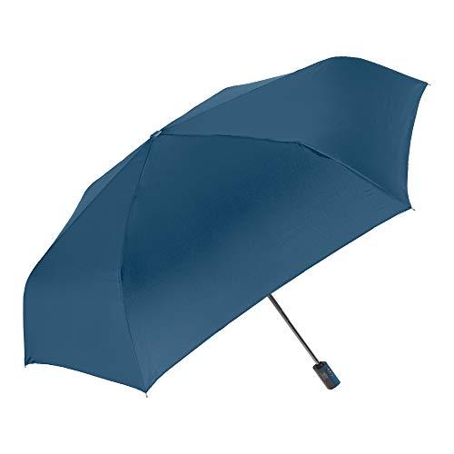 Perletti ombrello donna uomo pieghevole blu extra piatto leggero apri e chiudi automatico - ombrello portatile mini compatto antivento da viaggio da borsa resistente fibra di vetro tinta unita