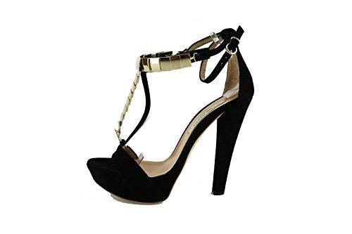 GIANNI MARRA sandali donna 36 EU nero camoscio AG401