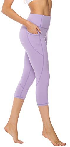 Persit Sporthose Damen, 3/4 Yoga Leggings Laufhose Yogahose Sport Leggins Capri Tights für Damen Hellflieder-M - Capri Leggings Nylon