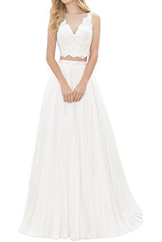 Milano Bride Weiss Zwei-teilig Spitze A-linie Hochzeitskleider brautkleider Brautmode Fuer Beach...