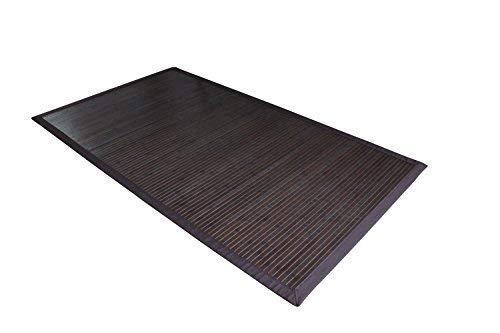 Moderner dunkler Bambusteppich COFFEE mit breiter Bordüre I Bettumrandung Läufer Schlafzimmer Küchenvorleger Flurteppich I Nachhaltiger...
