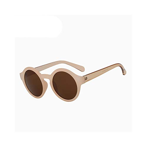 Sportbrillen, Angeln Golfbrille,Round Circle Sunglasses Women Retro Vintage Sun Glasses For Women Brand Designer Sunglasses Female Oculos Gafas De Sol Mujer Nude w brown lens