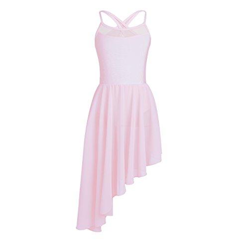 CHICTRY Mädchen Turnanzug Unregelmäßige Design Tanz Kleider Ballett Trikot Ballettbody mit Tüllrock Tanz Latin Jazz Tango Rosa ()