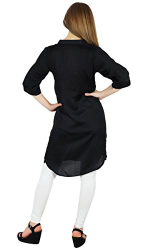 Bimba femme Cotton Blend tunique courte Kurta Kurti Blouse Casual Summer usure Noir