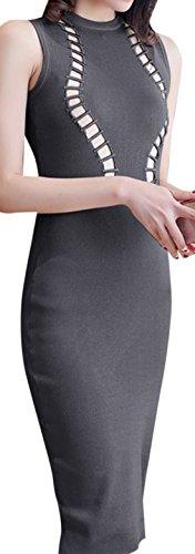erdbeerloft - Damen Ärmelloses High Neck Slim Midikleid mit Lochmuster, XS-L, Viele Farben Grau