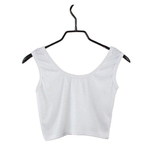 Damen Shirts Kolylong Frauen-Sport Crop Enge-Veste T-Shirts Weiß