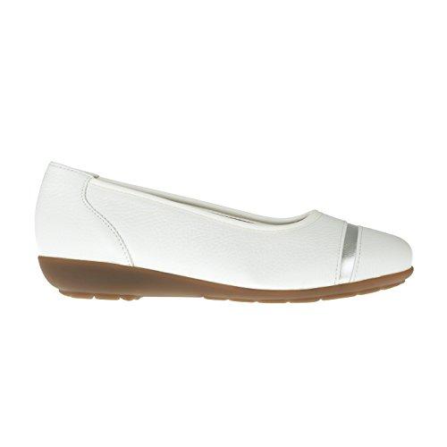 tessamino Damen Ballerina aus Hirschleder, elegant, Weite H, für Einlagen Weiß