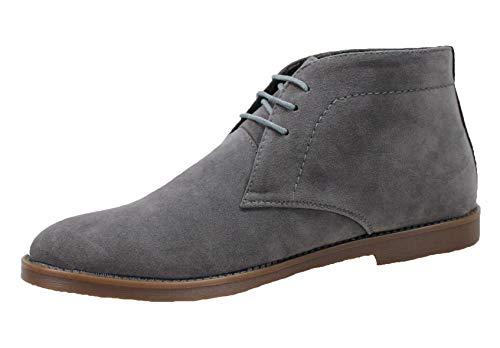 Ak collezioni polacchine uomo class grigio camoscio scarpe casual eleganti scamosciate (44)