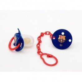 Preisvergleich Produktbild FC Barcelona Schnuller (2 Pack – Rot / Blau mit Kette)