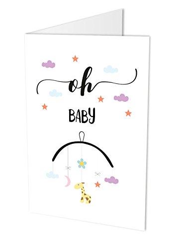 """Maxi-Karte\""""OH BABY\"""", Klappkarte DIN A4 mit Kuvert, Glückwunsch-karte zur Geburt, Geburt, Baby, Geburtskarte"""