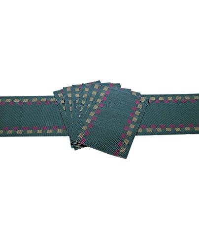 Dhrohar Hand Woven Dobby Cotton Table Runner and Mat Set - Set...