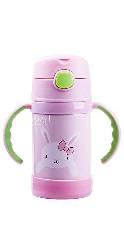 Thermobecher / Trinkbecher für Kinder   mit Trinkhalm   hält lange warm oder kalt   250 ml mit Griffen oder 320 ml mit Trageband   aus doppelwandigem Edelstahl mit Vakuumisolierung - Becher B Modell