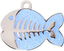 Bow Wow Meow Engraved Fashion Light Blue Sparkle Fish Cat Tag- dispatched within 24 hours, lifetime guarantee against fading, ENTER YOUR ENGRAVING INSTRUCTIONS AS A GIFT