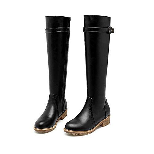 Kniehohe Stiefel aus braunem/schwarzem Leder für Damen, Damenreitstiefel mit niedrigem Absatz (1-3 cm) Element-Gürtelschnalle für Damen