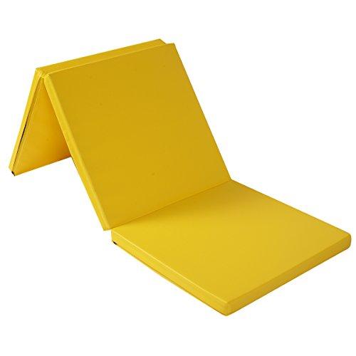 COSTWAY Weichbodenmatte 183X61X5CM | Gymnastikmatte klappbar | Yogamatte mit Tragegurten | Turnmatte | Klappmatte | Fitnessmatte (gelb)
