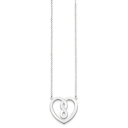 THOMAS SABO Unisex-Kette mit Anhänger 38-42cm Unendlichkeit Herz Halskette 925 Silber 0.1 cm - KE1496-001-12-L42v