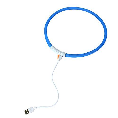 2-TECH LED Visio Leuchthalsband in BLAU für Hunde und Katzen universell kürzbar Deluxe 55 cm - 3
