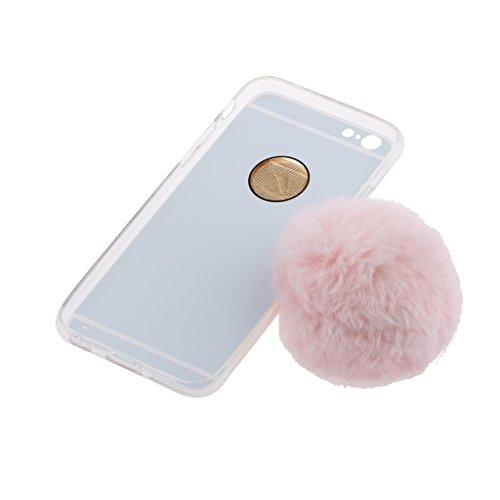 Silber Telefon Schutzhülle Hart Case Back Cover mit Künstliche Plüsch Ball Hairball Anhänger für iPhone 6 Plus und 6s Plus- Grau Rosa