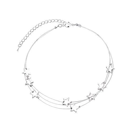 XZJX Halskette Damen Persönlichkeit Doppel Vielseitige Temperament Kurz Sexy Stern Schlüsselbein Kette Halskette Kragen
