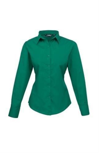 premier-womens-ladies-poplin-long-sleeve-blouse-plain-work-shirt-12-emerald