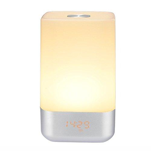 Preisvergleich Produktbild WSXXN Wachen Sie hellen Wecker, Berührungssensor Nachttischlampe LED Nachtlicht mit 5 Naturgeräusche, Sonnenaufgang Simulation, Farbwechsel, 3 Helligkeit, USB aufladbar