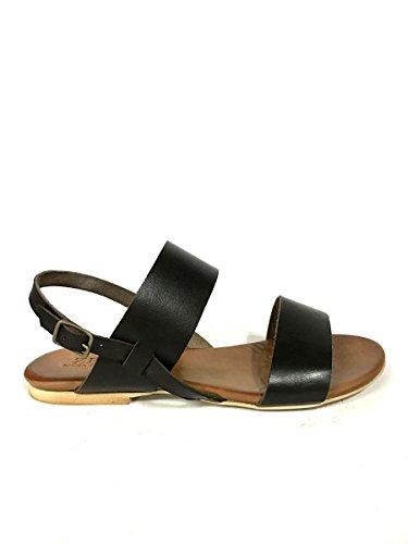 Sandali in pelle fasce 128-22 tacco basso cuoio infradito MainApps testa di moro
