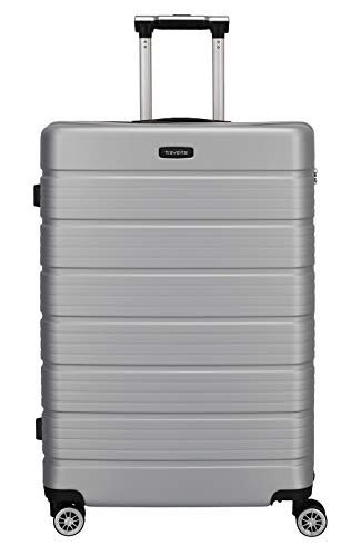 Travelite Funktionaler, smarter, starker, sportlich-eleganter Business-Reisekoffer Hartschalen Trolley Soho Koffer, 77 cm, 106 Liter, Silber