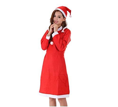 SDLRYF Weihnachtsmann Kostüm Erwachsene Frau Weihnachten Kostüm 3-Teiliges Set Santa Claus Kleidung Non-Woven Partei Zeigen Kostüme