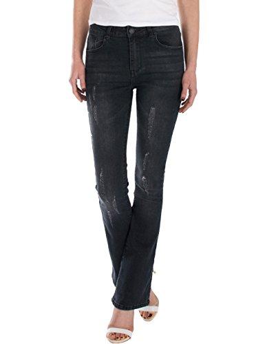 Dark Denim Flare Jeans (Fraternel Damen Jeans Hose Bootcut high Waist Used Stretch Schwarz L / 40 - W31)