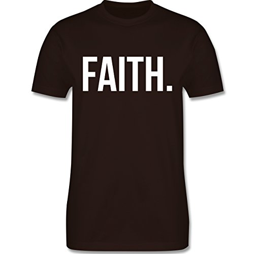 Statement Glaube Religion - Faith Glaube weiss - Herren T-Shirt Braun