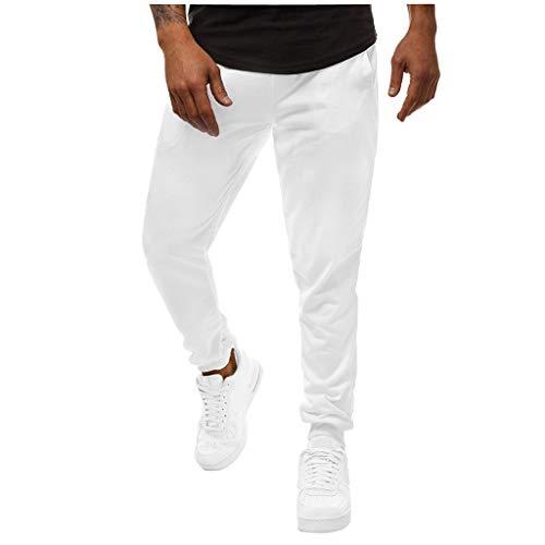 Herren Sport Sommer Lange Hosen Jogger Designer Hose Pure Chino Pants Cargohose Bermuda PPangUDing Slim Fit Camouflage Militär Stoff Outdoor Strand Jogging Jeans (L, Weiß) Denim Chinos