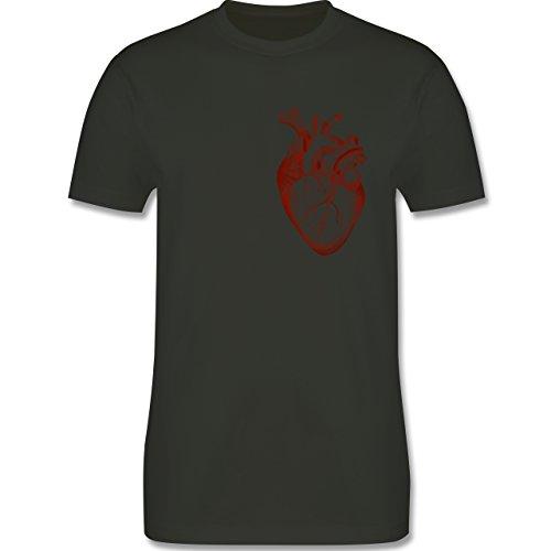Nerds & Geeks - Herz Anatomie - Herren Premium T-Shirt Army Grün