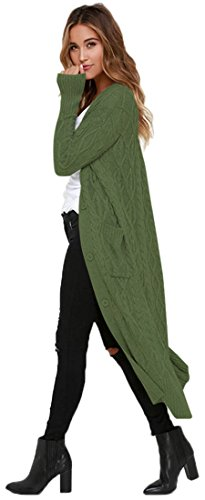 Frieda Fashion -  Cardigan  - Maniche lunghe  - Donna verde militare
