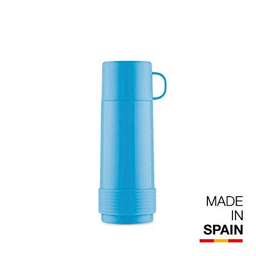 Valira Termo para Líquidos con Botella De Vidrio Aislante De Doble Pared, Azul, 1/2 L