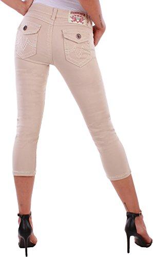 BD Damen Capri Jeans Jeanshose mit dicken Nähten in 4 Farben Beige