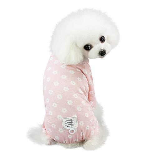 dung Mode niedlichen Haustier Pyjamas Hund Kleidung Blumendruck vierbeinigen kleinen Gänseblümchen Muster Hosen ()