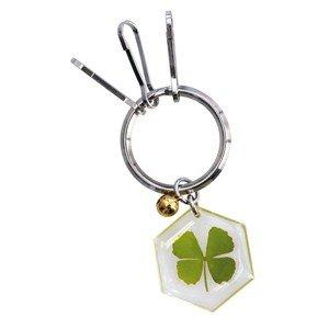 Pote-clés trèfle à 4 feuilles hexagonal porte bonheur véritable trèfle végétal