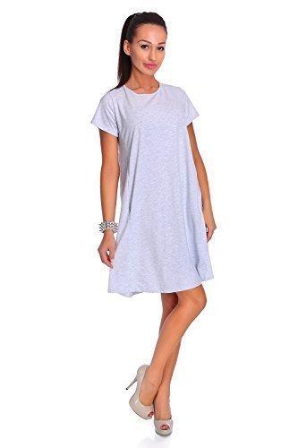 FUTURO FASHION - Robe - Trapèze - Manches Courtes - Femme Bleu Menthe Taille Unique Gris - Ashen