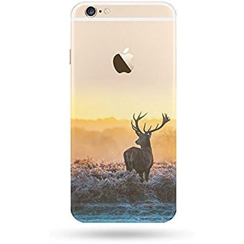 jinberry–Carcasa de dibujo colores para iPhone 7(4.7)/funda Ultra Fine 0.5mm TPU suave con tapón antipolvo/silicona pintura funda Bumper de protección para Apple iphone7 ciervo iPhone5s / SE