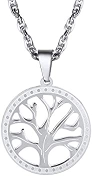 Tree of Life Pendant Necklaces for Men Women 18K Gold Plated Stainess Steel Round/Heart Shaped with Flicker Em