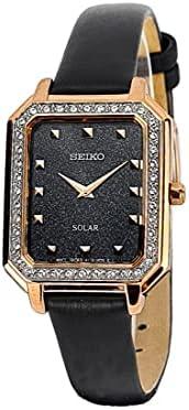 ساعة سيكو للنساء بسوار جلد شمسي SUP446P
