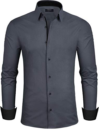 Grin&Bear Herren Hemd, dunkelgrau, Modern-Regular, M, SH335