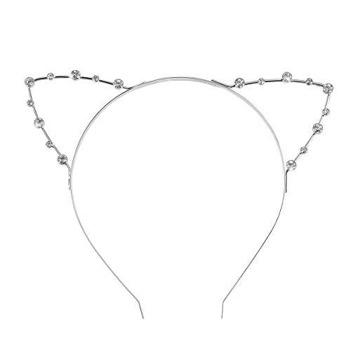 Supvox Stirnband Haarband Katzenohren Fancy Strass Kleid für Kostümparty (Silber)