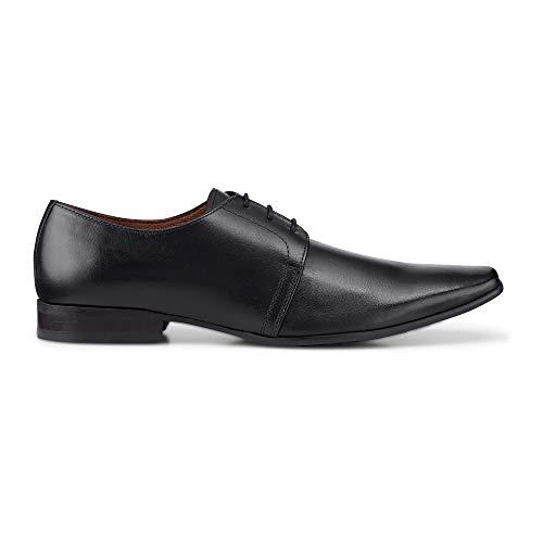 Belmondo Herren Herren Derby-Schnürschuh aus Leder, eleganter Business-Schuh in Schwarz Schwarz Glattleder 42