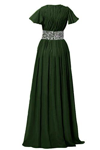 Toscana sposa elegante scollo a V Chiffon lungo sera, abiti madre della sposa Fest Party Ball abiti Dunkel Gruen