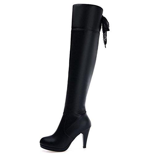 COOLCEPT Langschaft Damen Schwarz Schuhe mit Absatz Mode Warm Gefüttert über Kniehohe Stiefel Schwarz