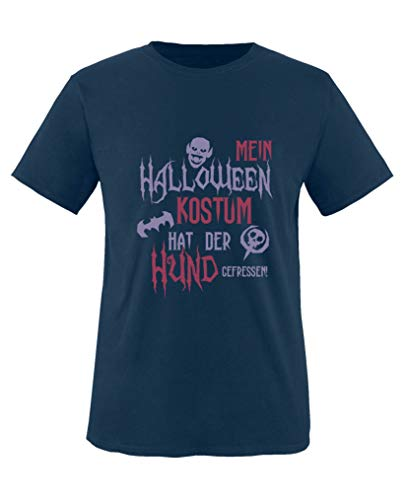 Comedy Shirts - Mein Halloween Kostuem hat der Hund gefressen - Mädchen T-Shirt - Navy/Violett-Fuchsia Gr. 152/164
