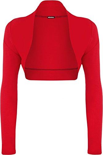 WearAll - Damen Übergröße Einfarbig Langarm Bolero Jäckchen Top - 7 Farben - Größe 44-50 Rot