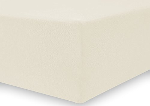 DecoKing 17548 80x200-90x200 cm Spannbettlaken Creme 100% Baumwolle Jersey Boxspringbett Spannbetttuch Bettlaken Betttuch Cream Amber Collection - 4
